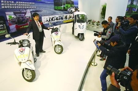 昨日,两江新区,展出的氢能源摩托车。本组图片由记者 唐浩 摄